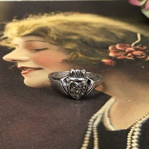 Sterling Silver Claddagh Marcasite Ring 6.25